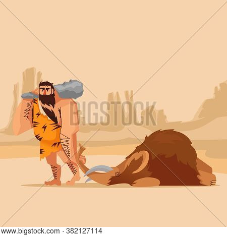 Cartoon Color Character Person Primitive Caveman With Cudgel After Hunting Concept Flat Design Style