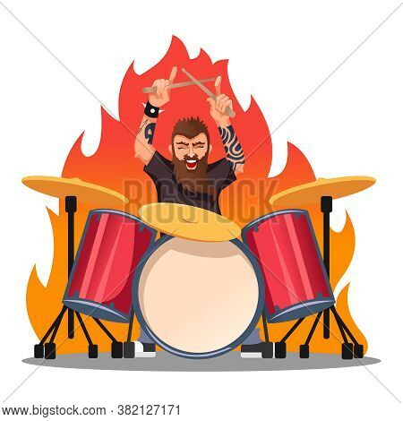 Cartoon Color Character Person Rocker Playing Drums Concept Flat Design Style. Vector Illustration O