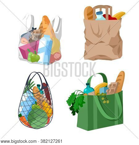 Cartoon Color Shopping Bags Baskets Icons Set Flat Design Style. Vector Illustration Of Bag Basket W