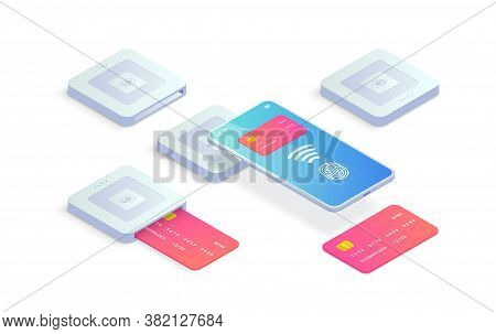 Isometric Emv Chip Credit Card Square Reader Icon Set. Secure Cashless Smartphone And Plastic Debit