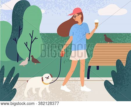 Happy Girl Holding Ice Cream Walking With Dog At Summer Park Vector Flat Illustration. Joyful Owner