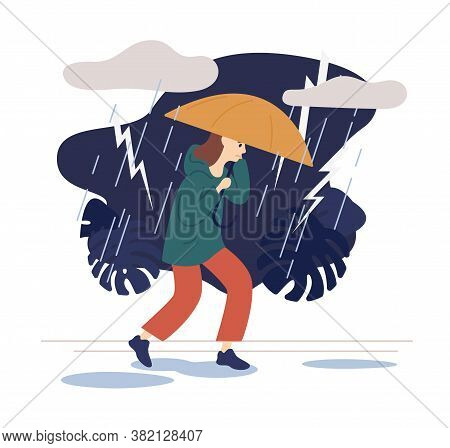 Casual Woman Going On Street Under Umbrella At Thunderstorm Vector Flat Illustration. Female Walking