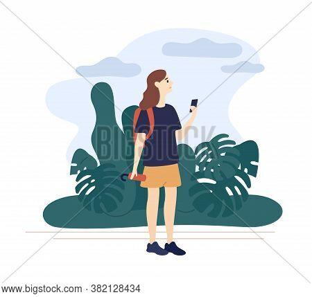 Girl Holding Umbrella Looking Weather Forecast Use Smartphone Vector Flat Illustration. Woman Walkin