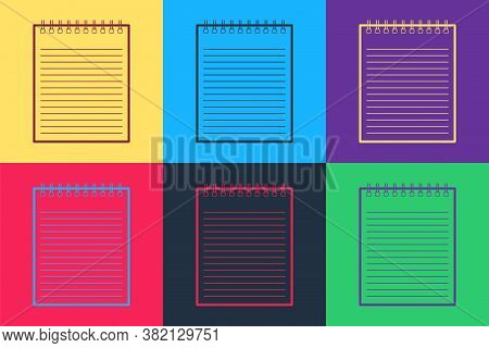 Pop Art Notebook Icon Isolated On Color Background. Spiral Notepad Icon. School Notebook. Writing Pa