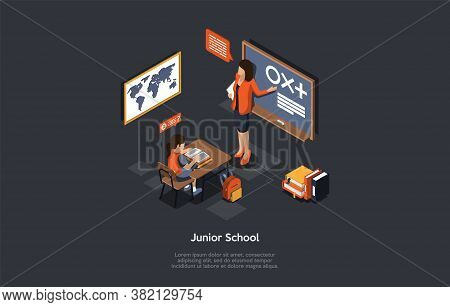 Education And Studying Concept. Teacher Shows An Example Explaining The Meaning Of Different Symbols
