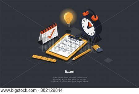 Education And Exam Concept. A Set Of Colorful Exam Accessories. Checklist And Pencil, Taking Test, C