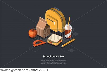 School Supplies And Accessories Concept. A Set Of Schoolbag, School Lunch Box, Pencil, Ruler, Apple,