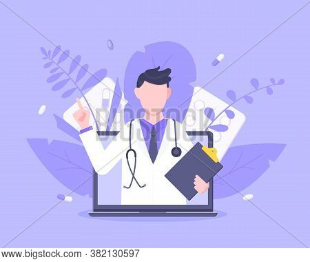 Online Doctor Medical Service Concept With Doctor In The Laptop Vector Illustration. Telemedicine We