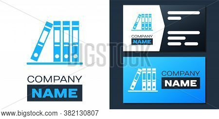 Logotype Office Folders With Papers And Documents Icon Isolated On White Background. Archives Folder