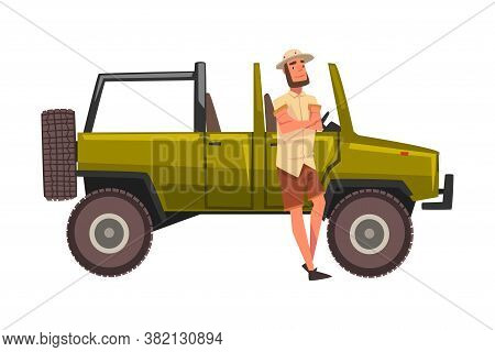 Male Traveller Standing In Front Of Jeep Car Suv, African Safari Travel, Tourist Girl Exploring Faun