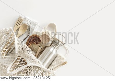 Zero Waste Concept. Eco-friendly Accessories - Bamboo Cutlery, Eco-friendly Shopping Bag, Reusable W