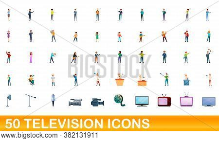 50 Television Icons Set. Cartoon Illustration Of 50 Television Icons Vector Set Isolated On White Ba