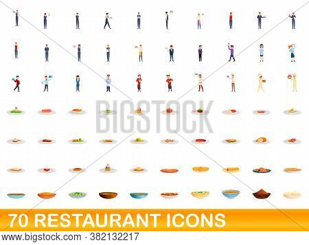 70 Restaurant Icons Set. Cartoon Illustration Of 70 Restaurant Icons Vector Set Isolated On White Ba