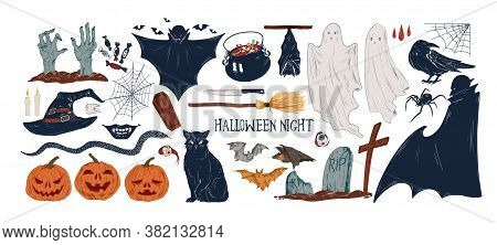 Collection Of Vintage Halloween Creepy Stickers. Set Of Traditional Helloween Symbols And Horror Vin