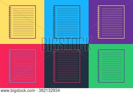 Pop Art Notebook Icon Isolated On Color Background. Spiral Notepad. School Notebook. Writing Pad. No