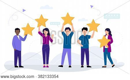 Rating, Customer Review And Feedback Concept. A Group Of Cartoon People Holding Five Stars Over Head