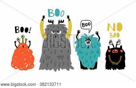 Cartoon Cute Boo Monsters. Little Furry Symbols Of Horror, Vector Illustration Of Funny Strange Char