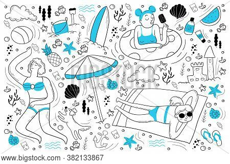 Beach Doodle Set. Collection Of Hand Drawn Sketches Templates Of People Lying At Sea Or Ocean Coast
