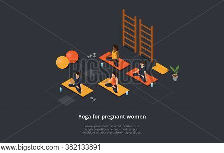 Yoga, Healthcare, Pregnancy And Maternity Concept. Pregnant Women In Lotus Position Sit On The Mats