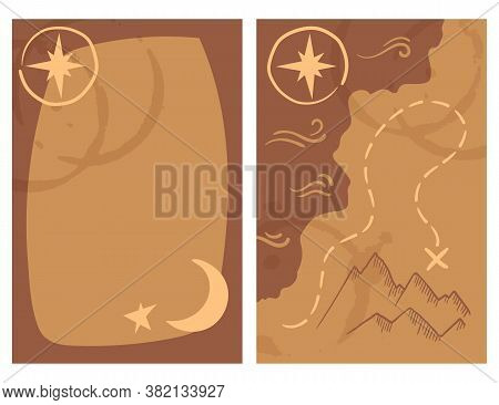 Old Treasury Map Card Two Sides, Vector Illustration With Text Place. Gift Or Greeting Card Template
