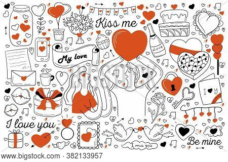 Love Doodle Set. Collection Of Hand Drawn Sketches Templates Of Affectionate Couple In Love Kissing
