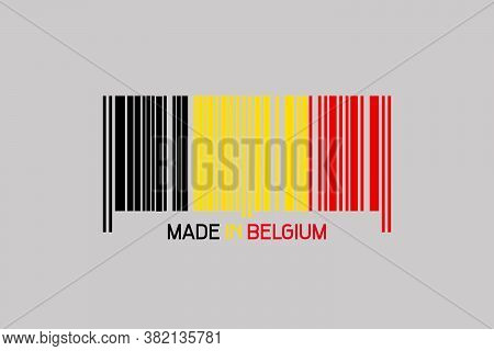 Made In Belgium. Barcode In The Form Of The Flag Of Belgium. Isolated On A Gray Background. Business