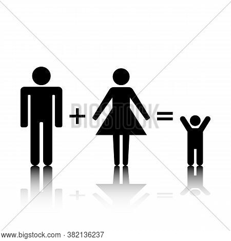 Set Of Family Stick Figures, Black Womans And Mans Silhouettes On A White Background. Icons People,