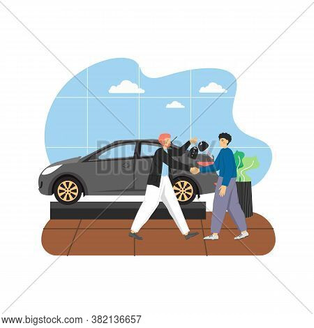 Car Showroom With New Car And Two Male Characters Auto Dealer And Buyer, Flat Vector Illustration.