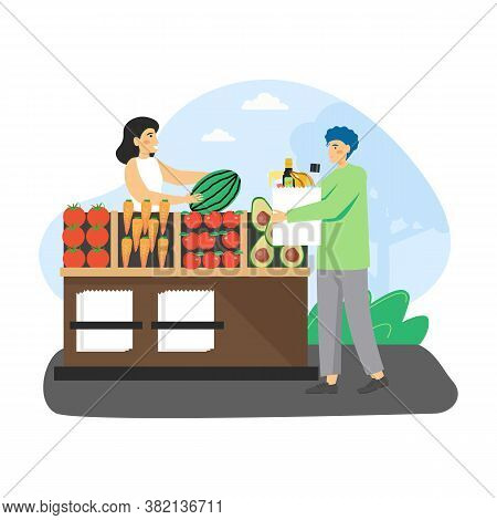Local Food Market. Man, Ecologist Buying Organic Fruits And Vegetables At Farmers Market, Flat Vecto