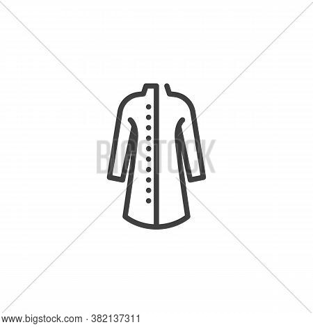 Elegant Coat With Buttons Line Icon. Linear Style Sign For Mobile Concept And Web Design. Women Coat