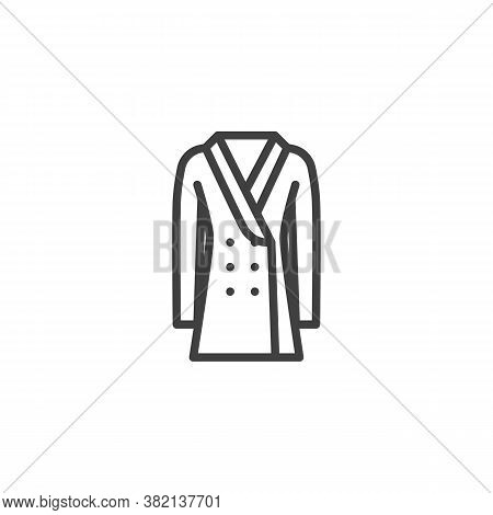 Double-breasted Coat Line Icon. Linear Style Sign For Mobile Concept And Web Design. Coat With Butto