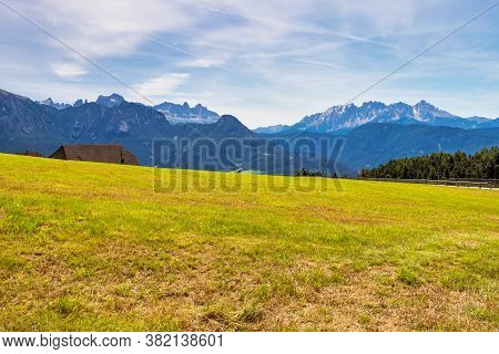 Beautiful Landscape View Of The Mountains In South Tyrol With Mixed Pine And Deciduous Forest, Renon