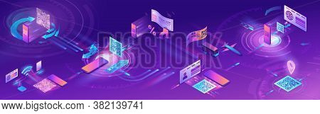 Qr Code Scan Isometric Horizontal Banner With Phone Making Payment, Smartphone Log In To Account, Ge