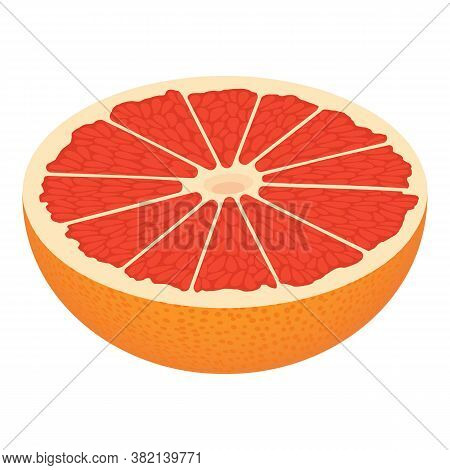 Half Cutted Grapefruit Icon. Isometric Of Half Cutted Grapefruit Vector Icon For Web Design Isolated
