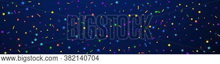 Festive Magnetic Confetti. Celebration Stars. Festive Confetti On Dark Blue Background. Admirable Fe