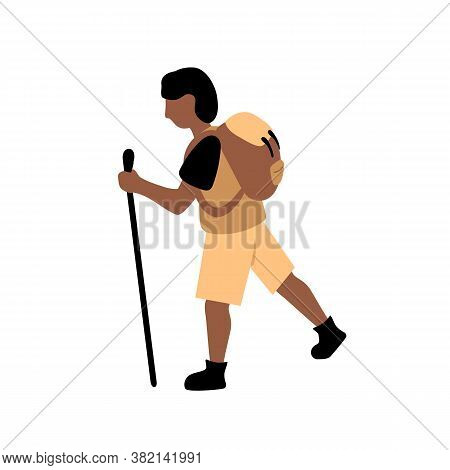 Mountaineer Man With Backpack And Stick, Vector Illustration On White Background. Trekking Or Hiking