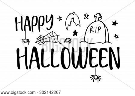 Happy Halloween. Vector Text Happy Halloween With Spider, Bat And Web, Headstone, Grave, Rip. Banner
