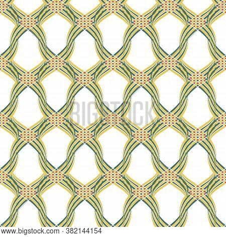 Vector Braid Effect Damask Weave Seamless Pattern Background. Backdrop Of Woven Celtic Style Green,