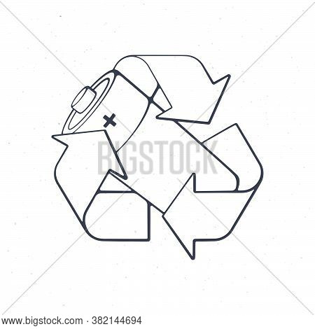 Recycling Symbol With Used Alkaline Battery Inside. Outline. Vector Illustration. Problems Of Waste