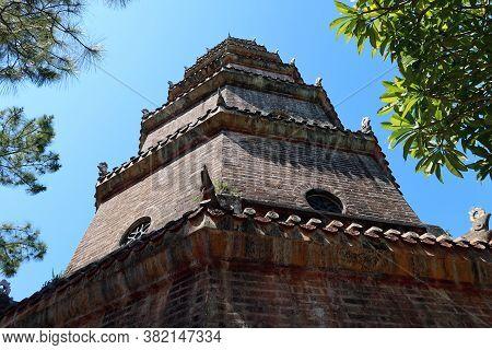 Hue, Vietnam, July 15, 2020: Chùa Thiên Mụ Pagoda In Hue, Vietnam