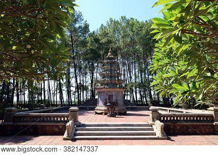 Hue, Vietnam, July 15, 2020: Small Pagoda In The Gardens Of Chùa Thiên Mụ Pagoda, Hue, Vietnam