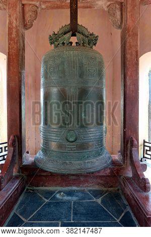 Hue, Vietnam, July 15, 2020: 3,285 Kg Bell At Chùa Thiên Mụ Pagoda, Hue, Vietnam