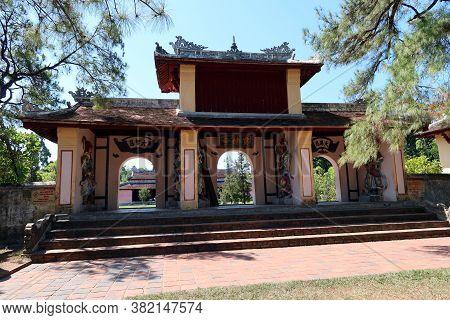 Hue, Vietnam, July 15, 2020: Access Doors To The Chùa Thiên Mụ Pagoda Temple, Hue, Vietnam