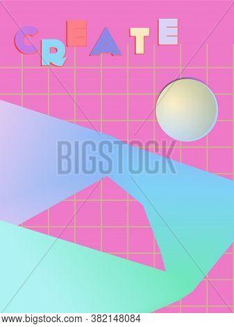 Music Cover In Pink, Blue, Cyan, Green Colors. Rock Concert Flyer. Minimal Tech Brochure. Amplitude