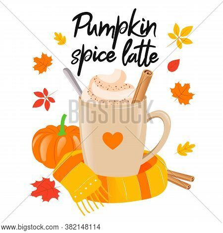 Pumpkin Latte Sign With Black Lettering Text And Coffee Cup. Cosy Autumnal Vector Illustration On Wh