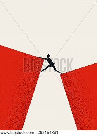 Business Challenge And Success Vector Concept With Businessman Climbing Over Gap. Symbol Of Ambition