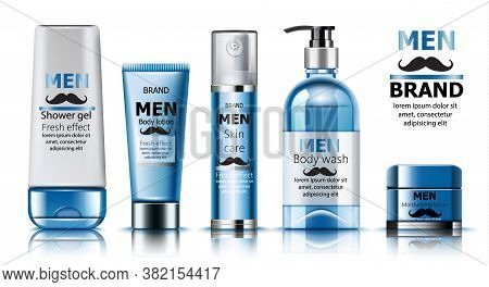 Composition Of Shower Gel, Body Lotion, Skin Care Oil, Wash Soap And Moisturizing Lotion For Men. Pl