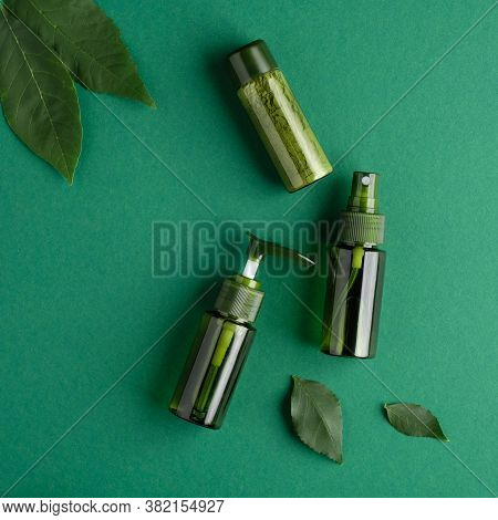 Spa Natural Cosmetic Bottles Set And Plant Leaves On Green Background. Bio Organic Beauty Product, S