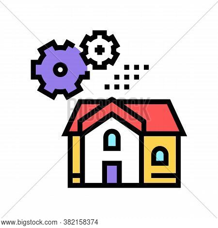 House Mechanical Gears Color Icon Vector. House Mechanical Gears Sign. Isolated Symbol Illustration