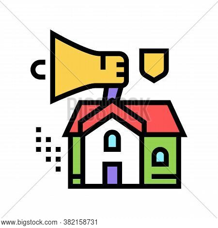 House Selling Loudspeaker Color Icon Vector. House Selling Loudspeaker Sign. Isolated Symbol Illustr